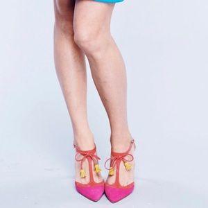 Boden Pink Suede 'Alice' Heels Pumps with Tassels